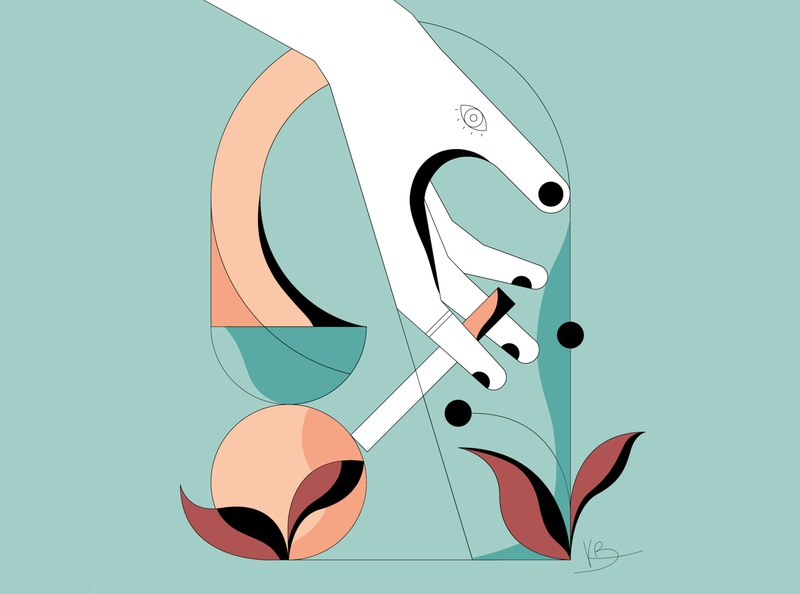 Addiction flower illustration illustration hand elegant flowers plants eye cigarette smoke