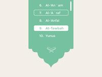 Quran App UI dropdown menu