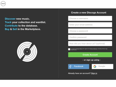 Discogs Redesign web redesign signup discogs