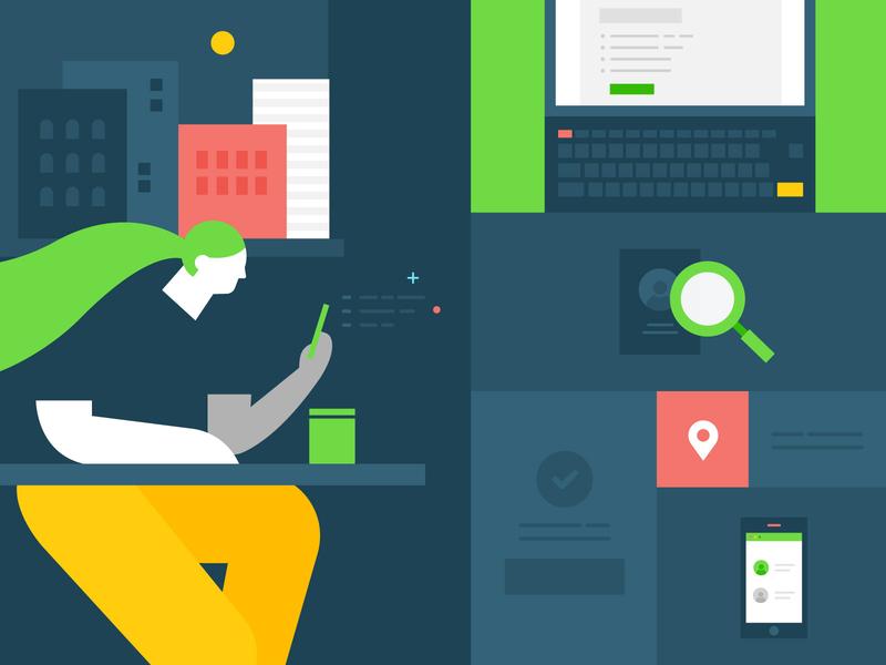 Google Play Dev Page Background Illustration vector flat app branding design illustration