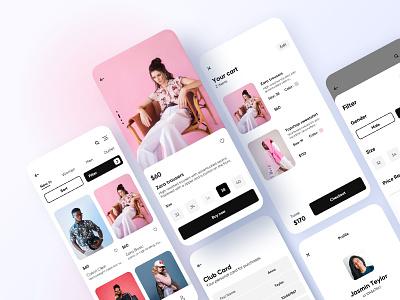Mobile Marketing Solution for Retailers cart clothes minimal clean flat shop mobile ecommerce app ui ux design