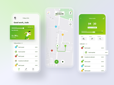 Interactive Walking App geolocation gps workout active sport design minimal ios flat clean fitness app mobile app ux ui