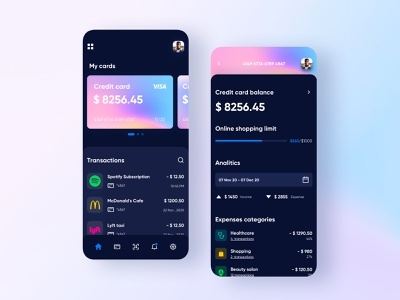 Personal Banking Application transactions minimal ios mobile flat design clean app ux ui credit card payments banking app