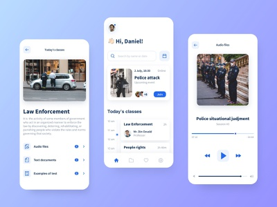 Mobile app for Police Academy learn e-learning courses classes minimal player app law police flat clean ui ux design mobile