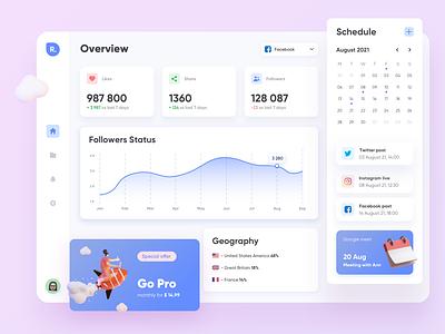 Innovative Solution for XR Market flat calendar schedule media social statistics colorful crm marketing desktop design clean app minimal ui ux