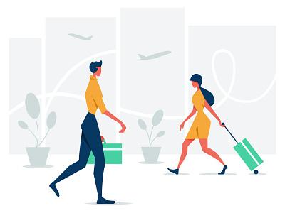 Illustrations for Travelspot vector art 2d office character illustration character plane airplane airport business traveling vector illustration digital illustration digital art illustration