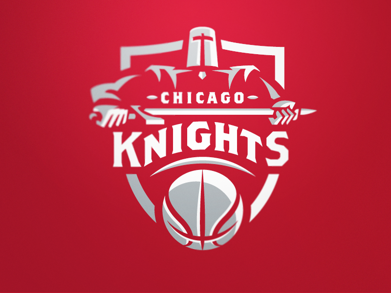 Chicago Knights Red chicago basketball sports logo team