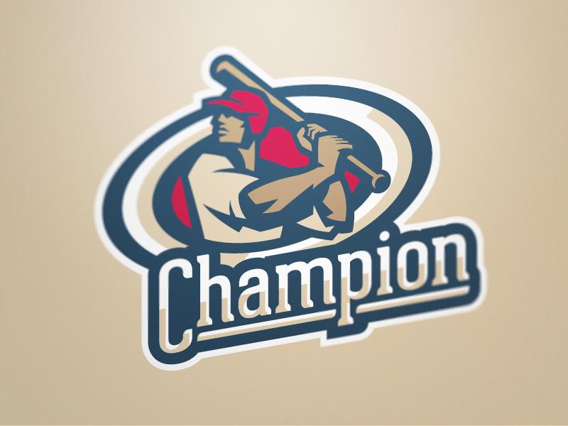 Champion 1 baseball logo sports design