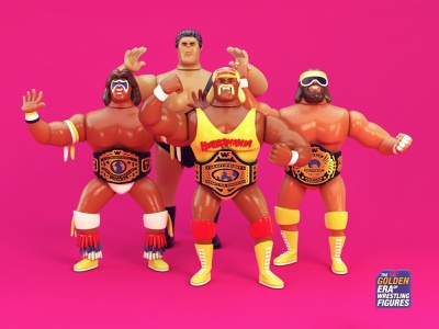 Wrestling Action Figures cinema4d c4d giant andre man macho hogan hulk warrior ultimate 3d figures action wrestling wwe wwf