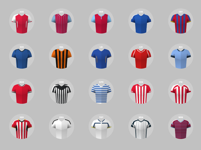 Premiership Jerseys premiership football epl jerseys strip shirts uniform soccer icons