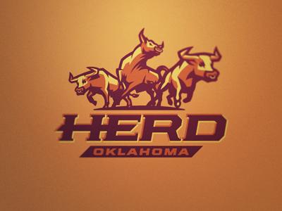 Herd Logo 4 herd cattle bull steer logo football sport