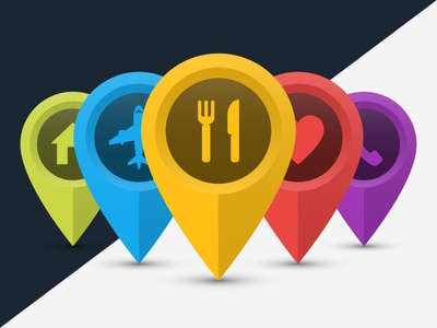 Map Location Pins Colorful Icons