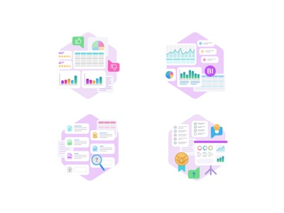 Data Analysis design charts modern data branding icon vector flat illustration