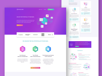 Phalanx data analytics landingpage uiux design minimal design illustration website uiuxdesign uiux colorful branding web