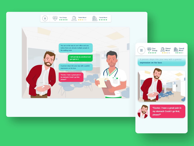 Hospital Simulation Dialogue Animation hospital doctor design illustration web design ui uiuxdesign uiux mobile app design app animation