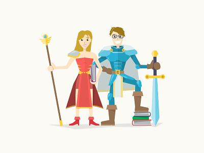 Heroes of SA illustration flat heroes fantasy students knight mage