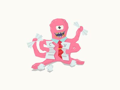 Labor Market Monster illustration flat monster cv career