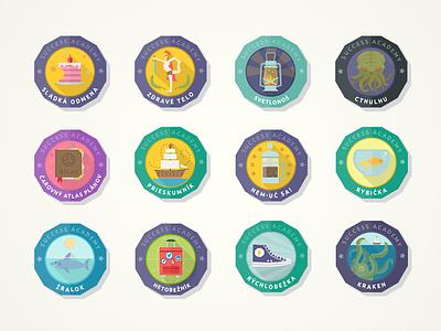Achievement Badges kraken cthulhu badges achievements flat illustration