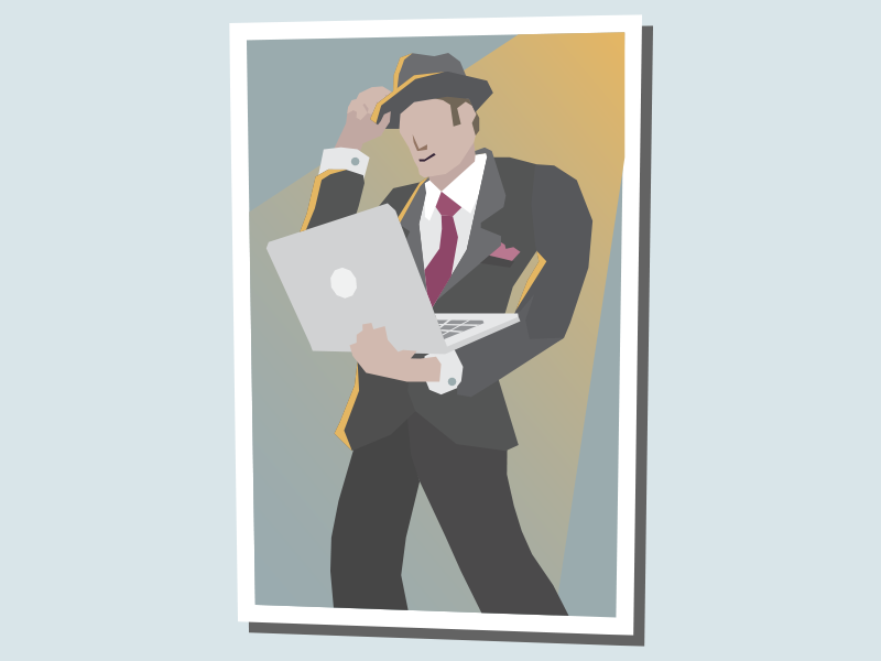 The Advocate macbook advocate suit retro corruption flat illustration