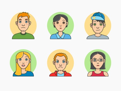 Moody Children kids characters portrait faces icon vector flat illustration