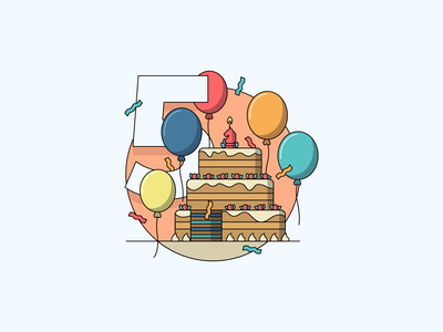 Company anniversary illustration icon retro corporate vector flat illustration