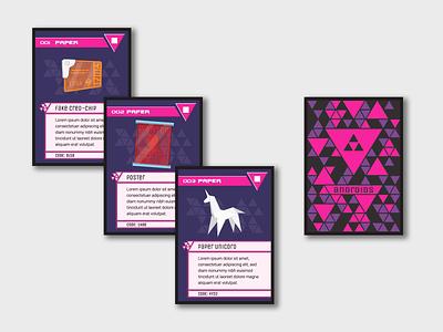Cyberpunk Card Game sci-fi cyberpunk design retro vector illustration tcg cards
