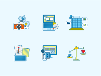 Icons for a bank app branding hr design retro icon corporate vector flat illustration