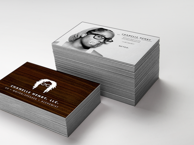Chanelle Henry Business Cards v.10 user experience alchemist writer glasses women branding black and white photography minimal ux wood business cards