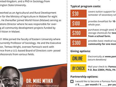 Pamoza International Rebranding (Malawi Nonprofit) tri-fold trifold africa nonprofit malawi brochure yellow orange pamoza rebrand