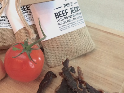 This is Jerky craft kraft beef jerky beef typography burlap tomato packaging jerky