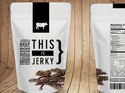 This is Jerky (v. 7) photography. cow icons black beef-jerky vegan meat food typography jerky white packaging