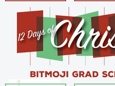 Bitmoji Twelve (12) Days of Christmas - Grad School Edition cartoon infographic holiday green red emoji illustrator illustration bitmoji