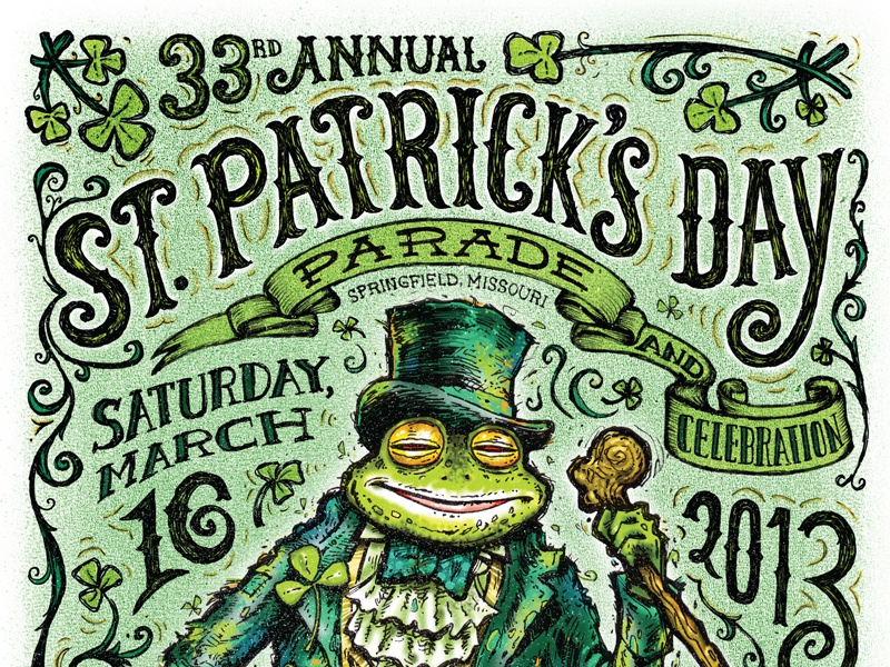 St Patrick's Day Poster poster green detailed frog typographic typography st. patricks day st. patrick hand drawn