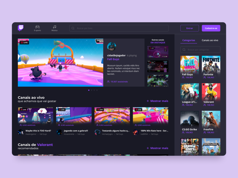 Twitch Redesign Concept design ui design streaming app brazil flat twitch interface web design web app ux uiux ui minimalist redesign product design