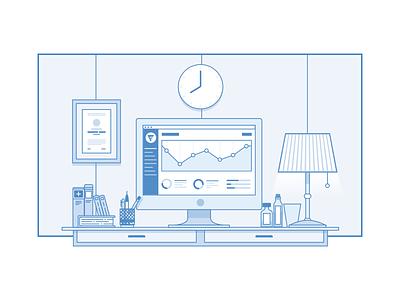 desk illustration illustration deck medical dashboard analytics