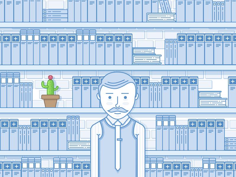 Frank illustration medical library cactus clerk frank