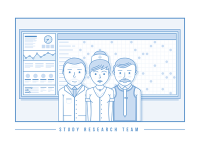 Research Team clinical healthcare research illustration