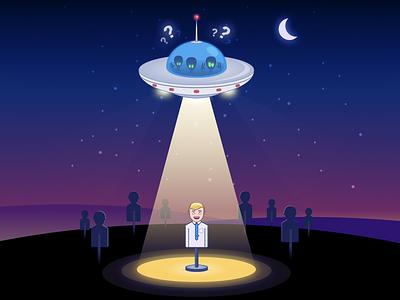 Trick the Aliens onboarding illustration flying saucer onboarding aliens illustration