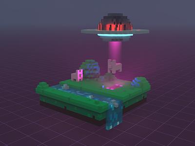 Abduction pigs abduction alien voxels voxel art magicavoxel