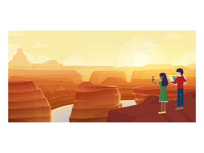 Sightseeing tourist onboarding sightseeing grand canyon design vector illustration