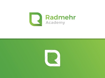 Radmehr Academy Logo illustration visual identity brand design brand identity academy green lettering minimal design logo design clean branding brand logo art