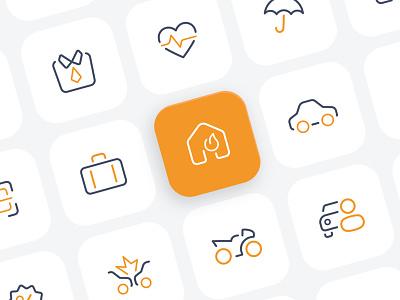 Insurance Icon Set outline icon ui minimalism brand identity minimal insurance icon set icon