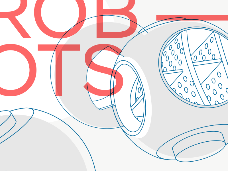 ROB—OTS overprint typography ball line robot futurism illustration magazine