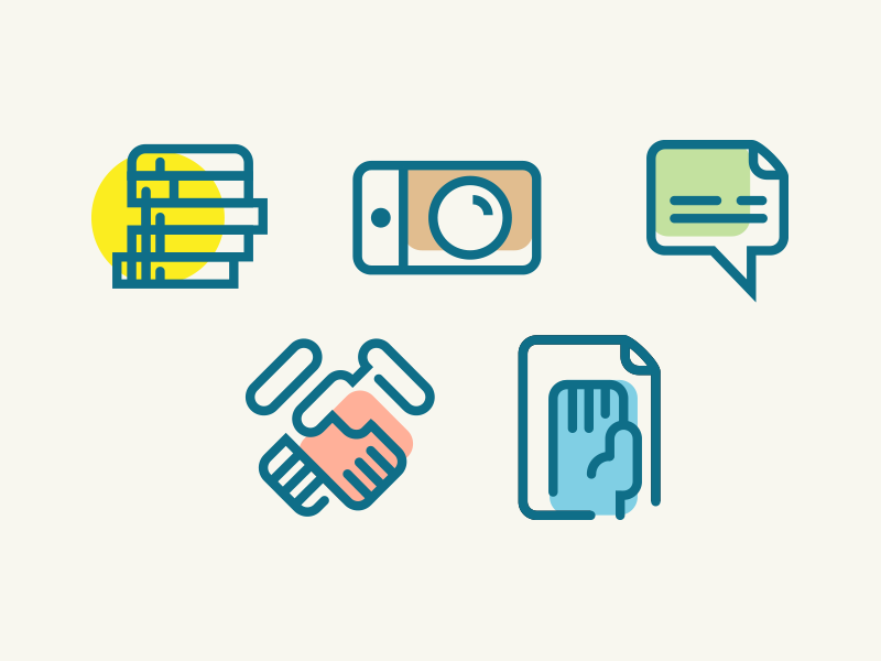 Trendy Icons #1 deal responsibility message sms vote yes hand photo money outline icons