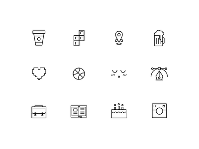 Such Icons. Wow icons line tetris coffee beer heart pixel emoji vector book cake doge