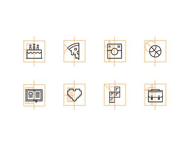 Aerolab's icons construction minimalism icon dribbble book ui tetris pizza cake construction guides aerolab icons