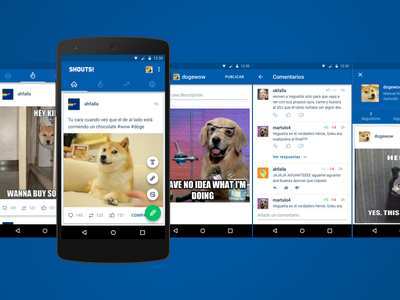 Taringa Shouts! App feed comments post dogs icons cards social ui material android mobile app