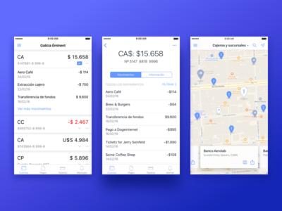 Banco Galicia - Eminent iOS App  premium ux map ui money payment accounts ios app banking