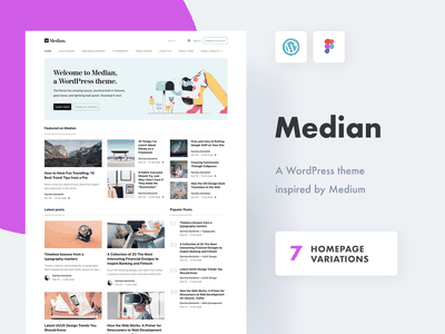Median - a WordPress theme like Medium web design homepage blog minimal website clean medium wordpress theme wordpress