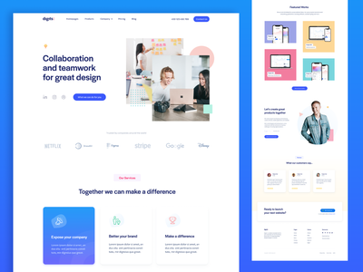Digits Landing Page Template figma template freebie landing page grid web design clean website minimal site landing homepage web